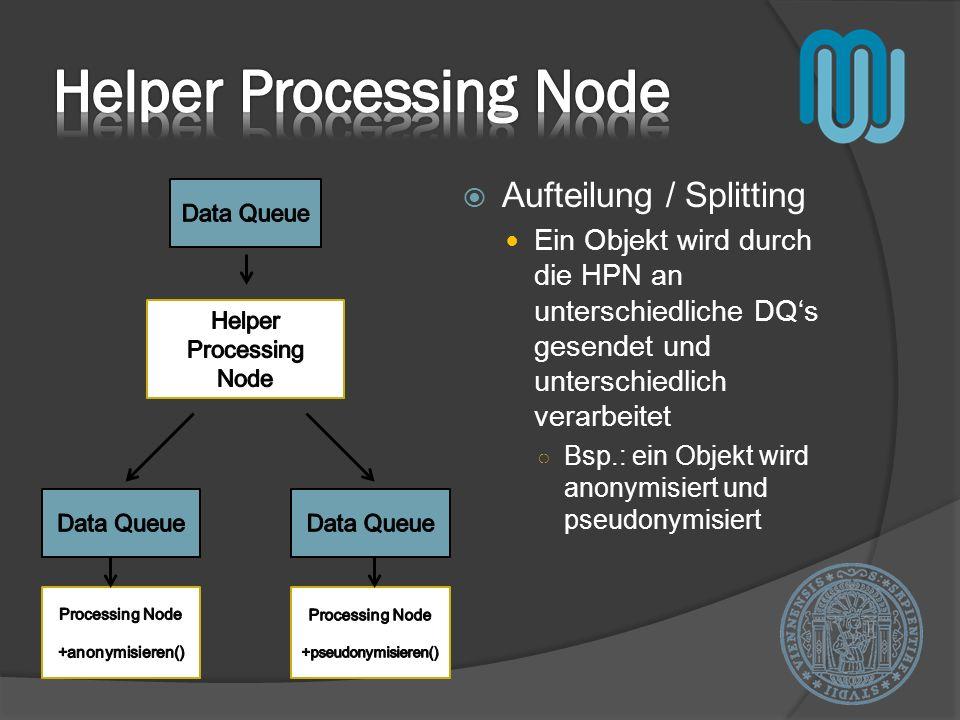 Aufteilung / Splitting Ein Objekt wird durch die HPN an unterschiedliche DQs gesendet und unterschiedlich verarbeitet Bsp.: ein Objekt wird anonymisie