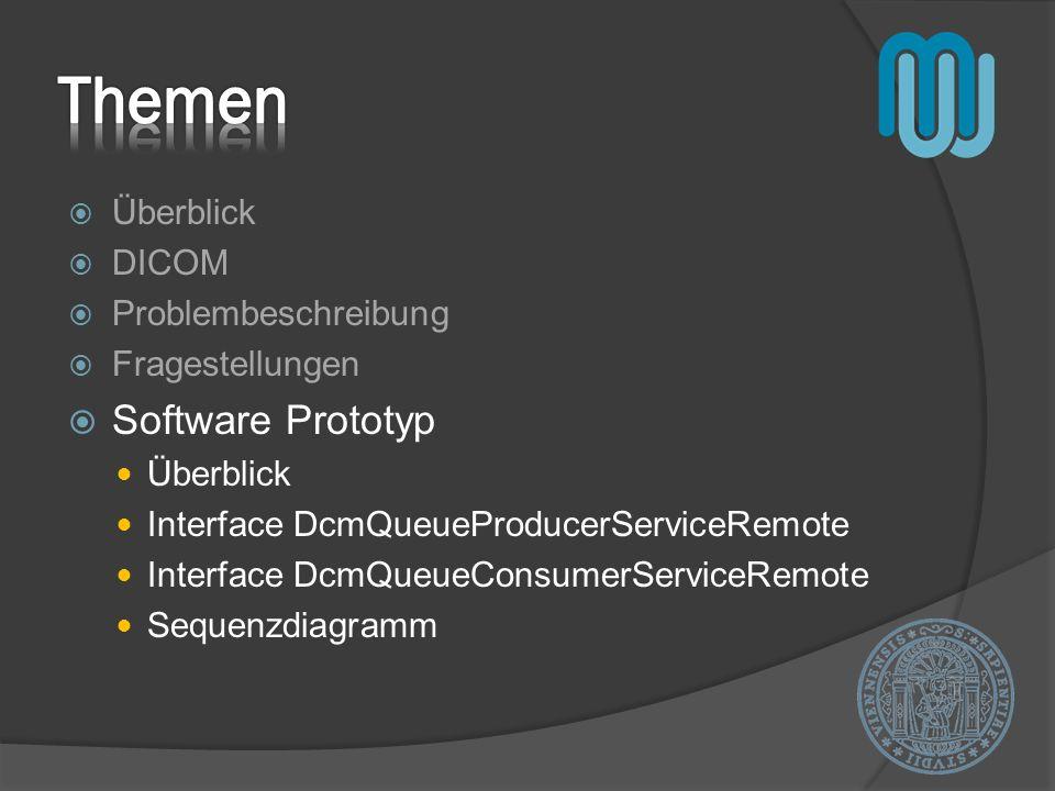 Überblick DICOM Problembeschreibung Fragestellungen Software Prototyp Überblick Interface DcmQueueProducerServiceRemote Interface DcmQueueConsumerServ