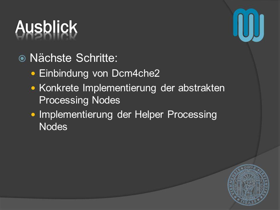 Nächste Schritte: Einbindung von Dcm4che2 Konkrete Implementierung der abstrakten Processing Nodes Implementierung der Helper Processing Nodes
