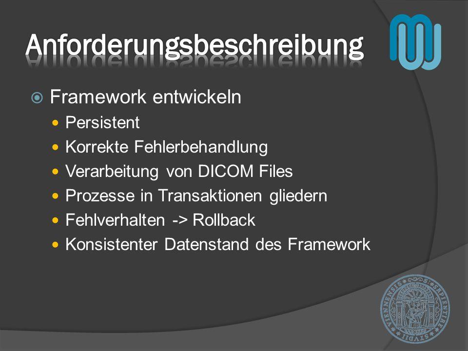 Framework entwickeln Persistent Korrekte Fehlerbehandlung Verarbeitung von DICOM Files Prozesse in Transaktionen gliedern Fehlverhalten -> Rollback Ko