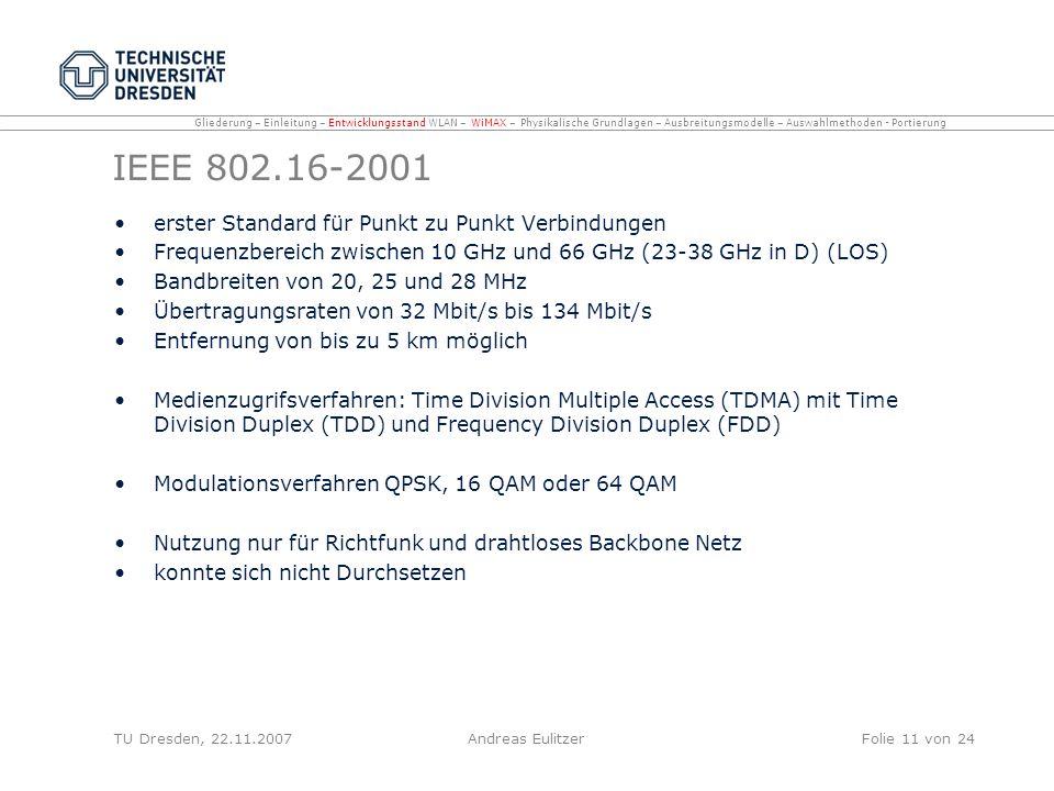 IEEE 802.16-2001 erster Standard für Punkt zu Punkt Verbindungen Frequenzbereich zwischen 10 GHz und 66 GHz (23-38 GHz in D) (LOS) Bandbreiten von 20,