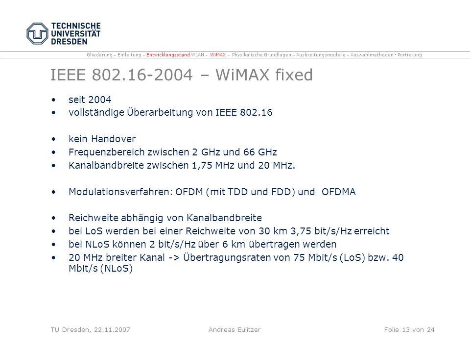 IEEE 802.16-2004 – WiMAX fixed seit 2004 vollständige Überarbeitung von IEEE 802.16 kein Handover Frequenzbereich zwischen 2 GHz und 66 GHz Kanalbandb