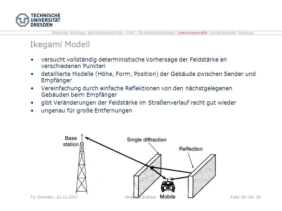 Ikegami Modell versucht vollständig deterministische Vorhersage der Feldstärke an verschiedenen Punkten detaillierte Modelle (Höhe, Form, Position) de