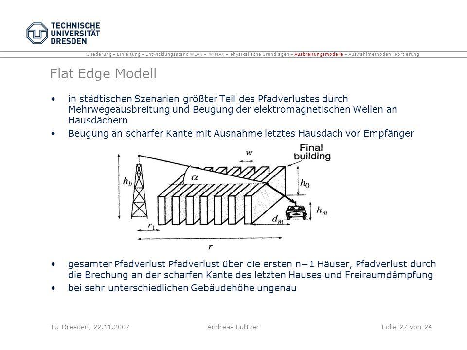 Flat Edge Modell in städtischen Szenarien größter Teil des Pfadverlustes durch Mehrwegeausbreitung und Beugung der elektromagnetischen Wellen an Hausd