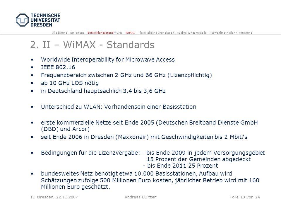 2. II – WiMAX - Standards Worldwide Interoperability for Microwave Access IEEE 802.16 Frequenzbereich zwischen 2 GHz und 66 GHz (Lizenzpflichtig) ab 1