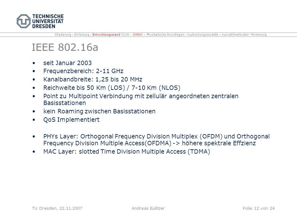 IEEE 802.16a seit Januar 2003 Frequenzbereich: 2-11 GHz Kanalbandbreite: 1,25 bis 20 MHz Reichweite bis 50 Km (LOS) / 7-10 Km (NLOS) Point zu Multipoi