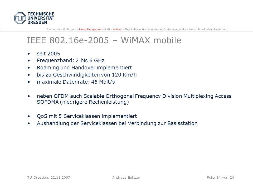 IEEE 802.16e-2005 – WiMAX mobile seit 2005 Frequenzband: 2 bis 6 GHz Roaming und Handover implementiert bis zu Geschwindigkeiten von 120 Km/h maximale