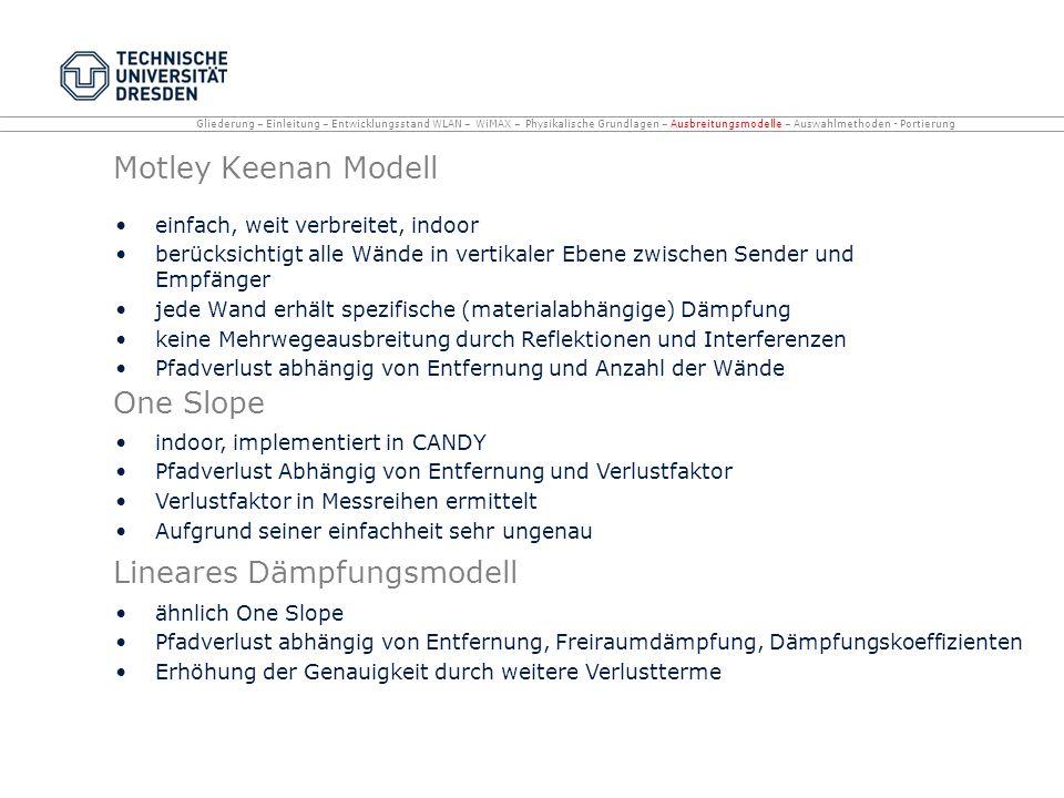 Motley Keenan Modell einfach, weit verbreitet, indoor berücksichtigt alle Wände in vertikaler Ebene zwischen Sender und Empfänger jede Wand erhält spe