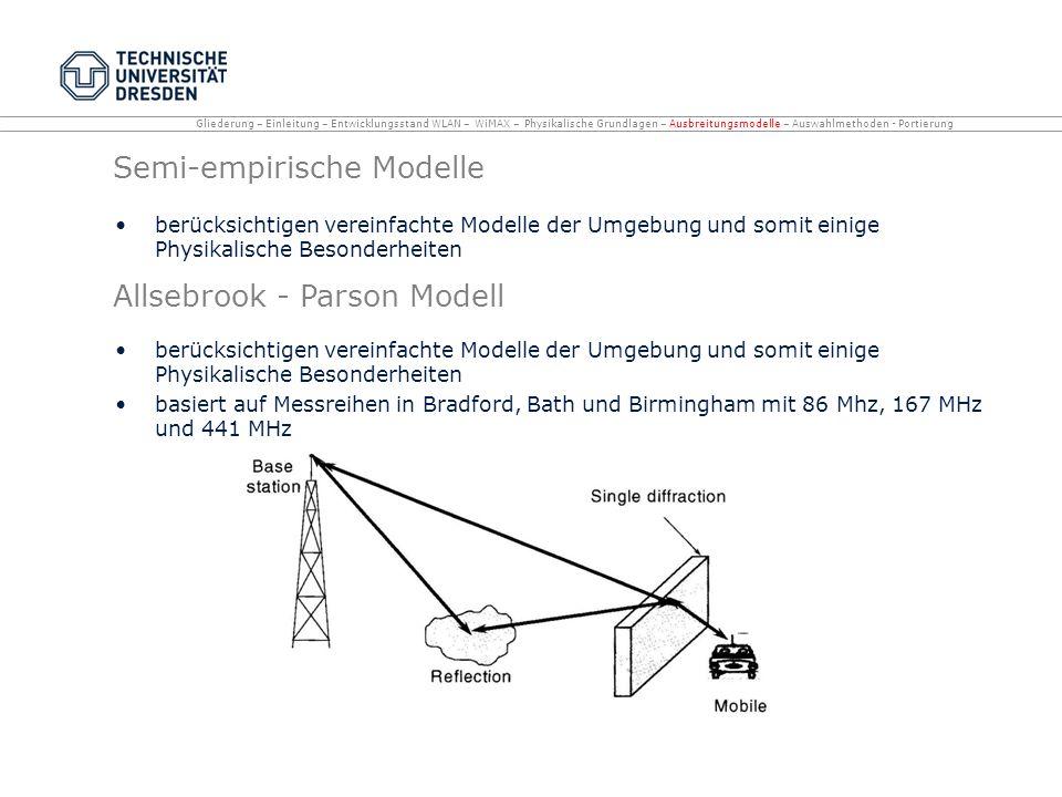 Semi-empirische Modelle berücksichtigen vereinfachte Modelle der Umgebung und somit einige Physikalische Besonderheiten Allsebrook - Parson Modell ber