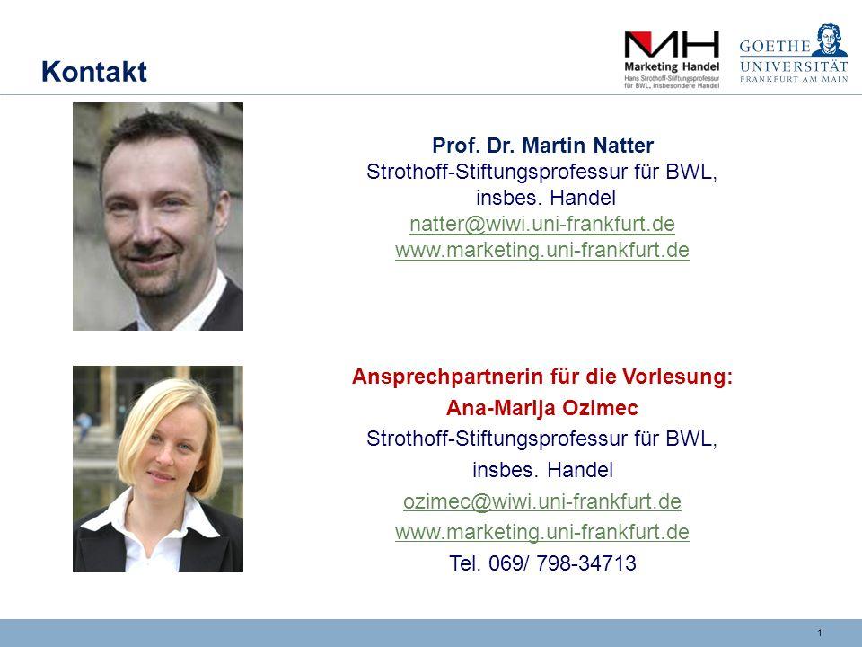 1 Kontakt Prof. Dr. Martin Natter Strothoff-Stiftungsprofessur für BWL, insbes. Handel natter@wiwi.uni-frankfurt.de natter@wiwi.uni-frankfurt.de www.m