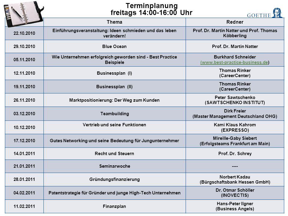 Terminplanung freitags 14:00-16:00 Uhr DatumThemaRedner 22.10.2010 Einführungsveranstaltung: Ideen schmieden und das leben verändern! Prof. Dr. Martin