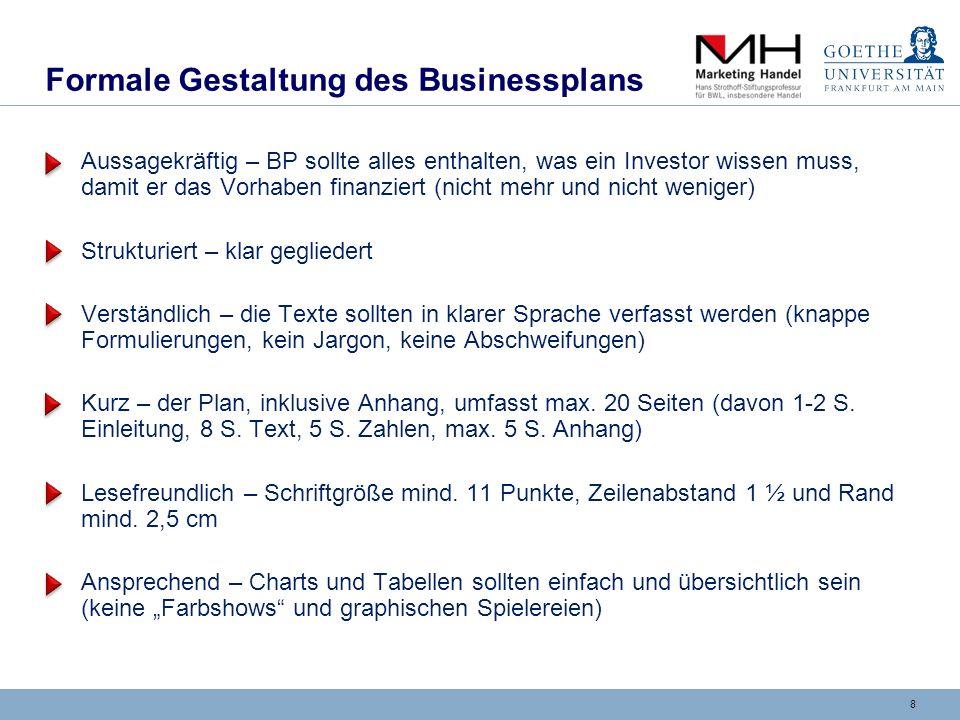 9 Gliederung eines BP 1)Zusammenfassung (Executive Summary) 2)Produkt / Dienstleistung 3)Unternehmensteam 4)Marketing 5)Geschäftssystem und Organisation 6)Realisierungsplan 7)Risikoanalyse 8)Finanzplanung Klare Gliederung hilft dem Leser die neue Idee zu verstehen