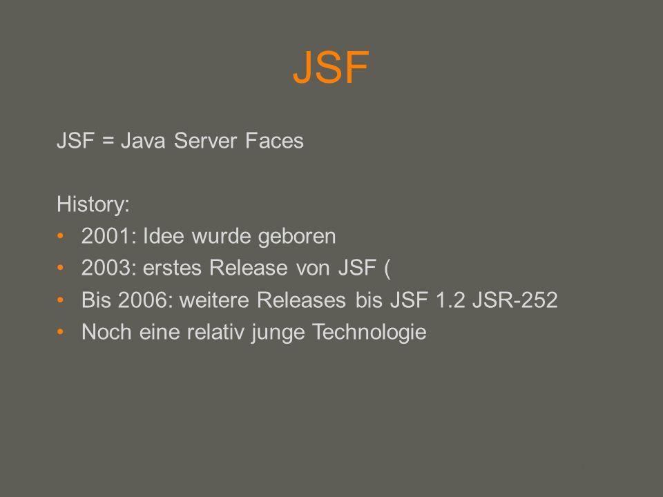 your name JSF JSF = Java Server Faces History: 2001: Idee wurde geboren 2003: erstes Release von JSF ( Bis 2006: weitere Releases bis JSF 1.2 JSR-252 Noch eine relativ junge Technologie