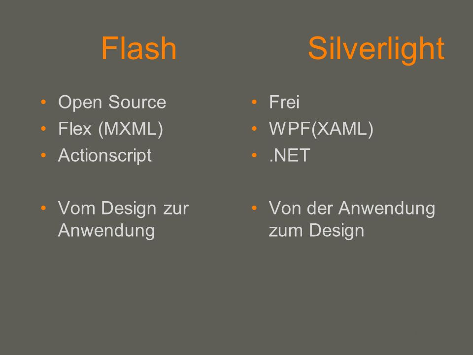 your name Flash Silverlight Open Source Flex (MXML) Actionscript Vom Design zur Anwendung Frei WPF(XAML).NET Von der Anwendung zum Design