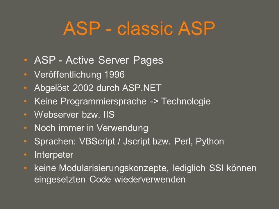your name ASP - classic ASP ASP - Active Server Pages Veröffentlichung 1996 Abgelöst 2002 durch ASP.NET Keine Programmiersprache -> Technologie Webserver bzw.