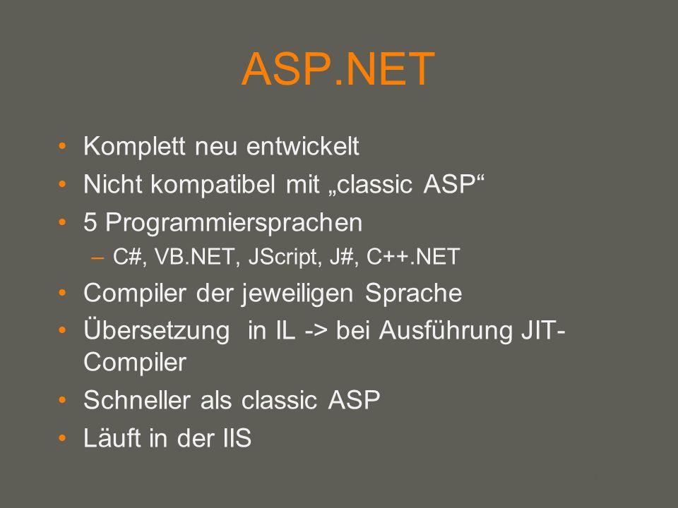 your name ASP.NET Komplett neu entwickelt Nicht kompatibel mit classic ASP 5 Programmiersprachen –C#, VB.NET, JScript, J#, C++.NET Compiler der jeweiligen Sprache Übersetzung in IL -> bei Ausführung JIT- Compiler Schneller als classic ASP Läuft in der IIS