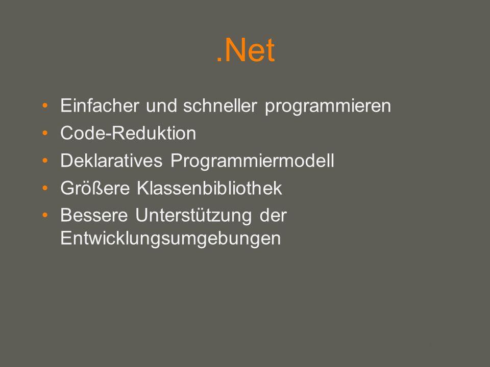 your name.Net Einfacher und schneller programmieren Code-Reduktion Deklaratives Programmiermodell Größere Klassenbibliothek Bessere Unterstützung der Entwicklungsumgebungen