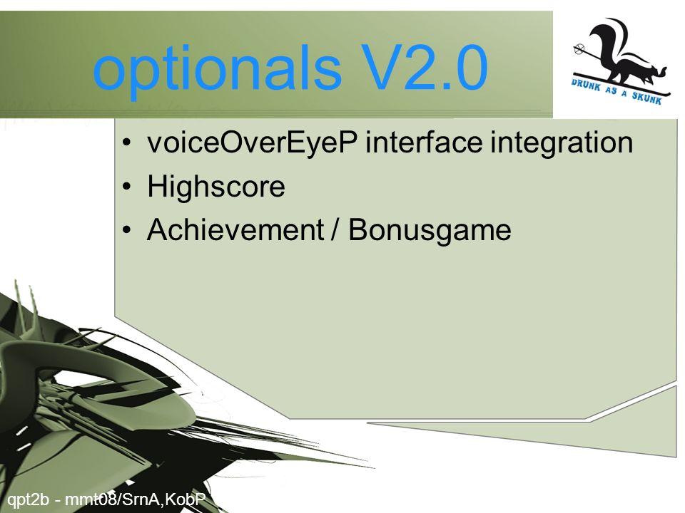 optionals V2.0 voiceOverEyeP interface integration Highscore Achievement / Bonusgame qpt2b - mmt08/SrnA,KobP