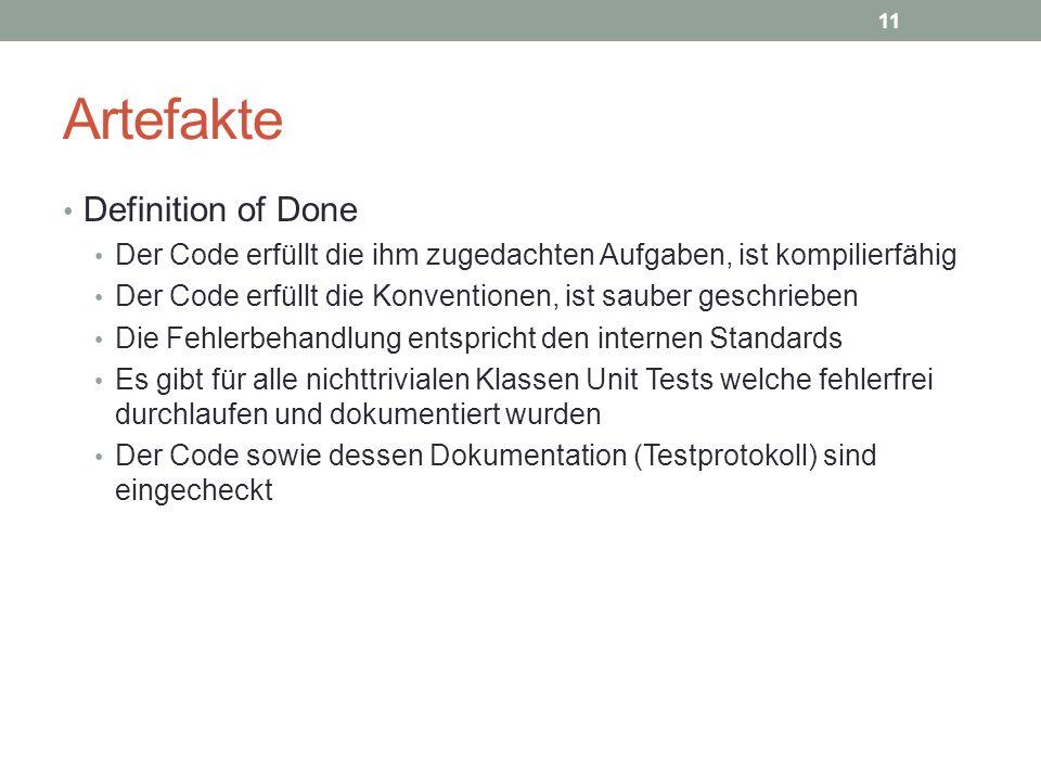 Artefakte Definition of Done Der Code erfüllt die ihm zugedachten Aufgaben, ist kompilierfähig Der Code erfüllt die Konventionen, ist sauber geschrieb