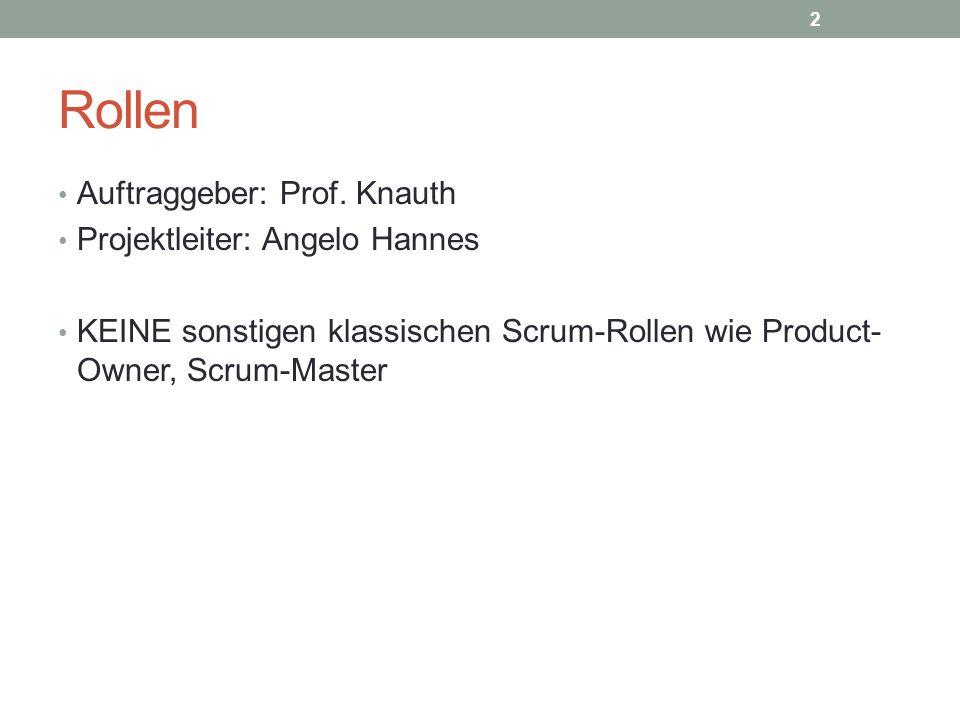 Rollen Auftraggeber: Prof. Knauth Projektleiter: Angelo Hannes KEINE sonstigen klassischen Scrum-Rollen wie Product- Owner, Scrum-Master 2
