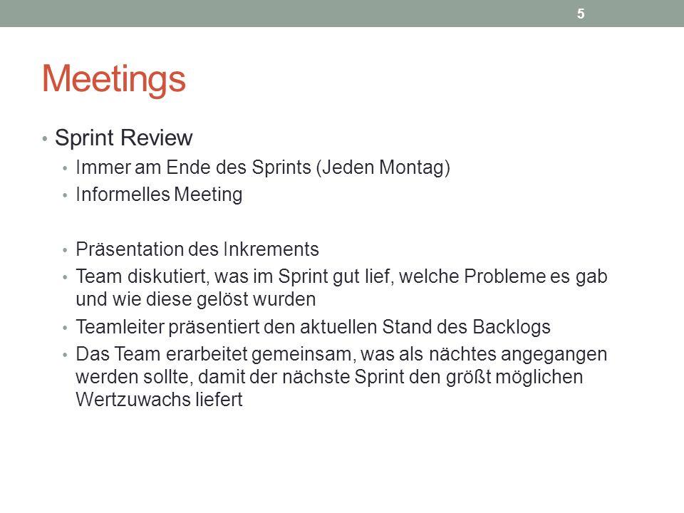 Meetings Sprint Review Immer am Ende des Sprints (Jeden Montag) Informelles Meeting Präsentation des Inkrements Team diskutiert, was im Sprint gut lie