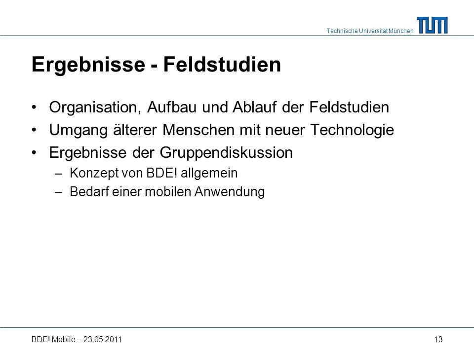 Technische Universität München Ergebnisse - Feldstudien Organisation, Aufbau und Ablauf der Feldstudien Umgang älterer Menschen mit neuer Technologie Ergebnisse der Gruppendiskussion –Konzept von BDE.