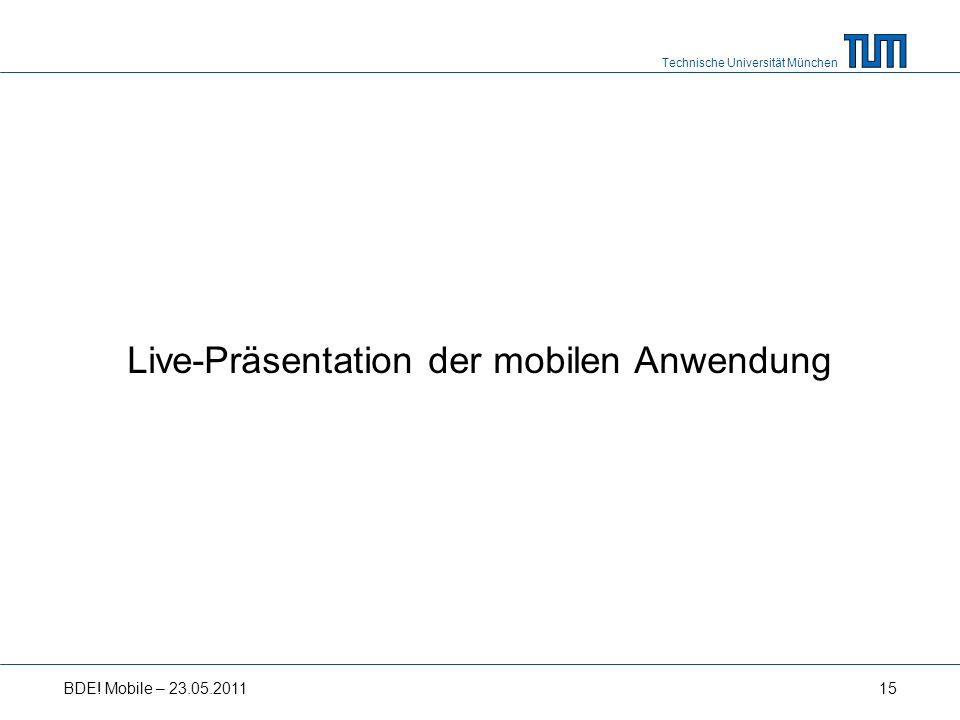 Technische Universität München Live-Präsentation der mobilen Anwendung BDE! Mobile – 23.05.201115