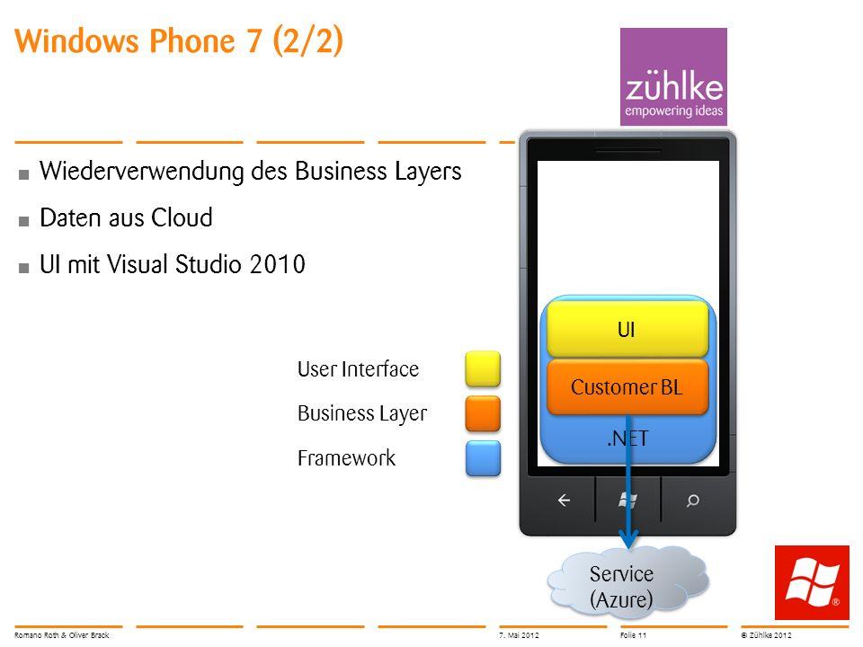 © Zühlke 2012 Windows Phone 7 (2/2) Wiederverwendung des Business Layers Daten aus Cloud UI mit Visual Studio 2010 Service (Azure).NET UI Customer BL User Interface Framework Business Layer Romano Roth & Oliver Brack7.