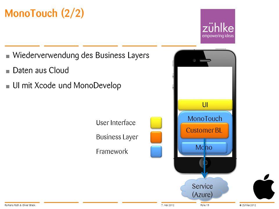 © Zühlke 2012 MonoTouch (2/2) Wiederverwendung des Business Layers Daten aus Cloud UI mit Xcode und MonoDevelop Service (Azure) MonoTouch Customer BL Mono UI User Interface Framework Business Layer Romano Roth & Oliver Brack7.