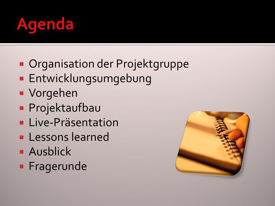 Organisation der Projektgruppe Entwicklungsumgebung Vorgehen Projektaufbau Live-Präsentation Lessons learned Ausblick Fragerunde