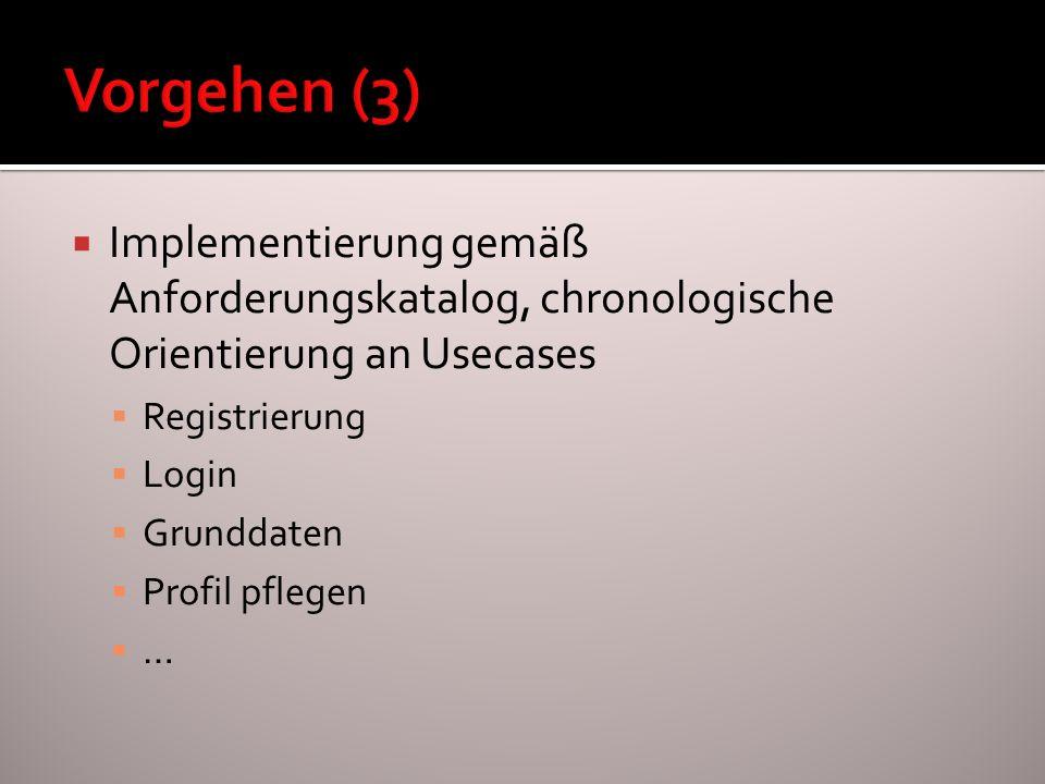 Implementierung gemäß Anforderungskatalog, chronologische Orientierung an Usecases Registrierung Login Grunddaten Profil pflegen …