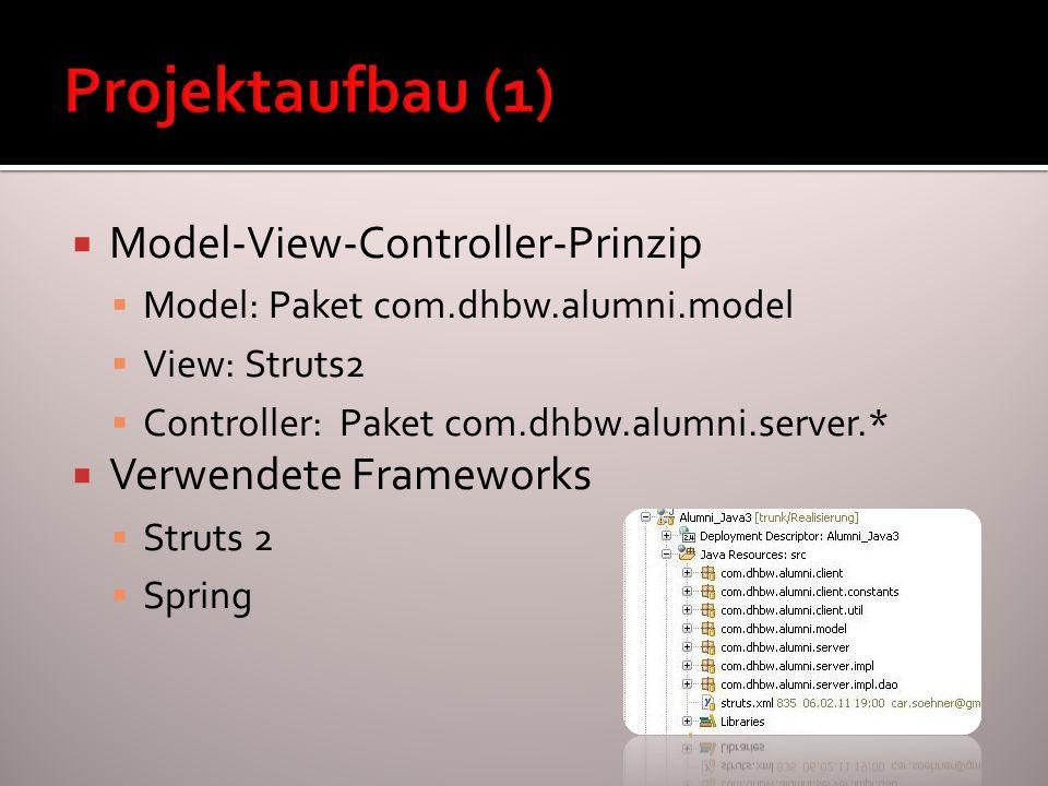 Model-View-Controller-Prinzip Model: Paket com.dhbw.alumni.model View: Struts2 Controller: Paket com.dhbw.alumni.server.* Verwendete Frameworks Struts