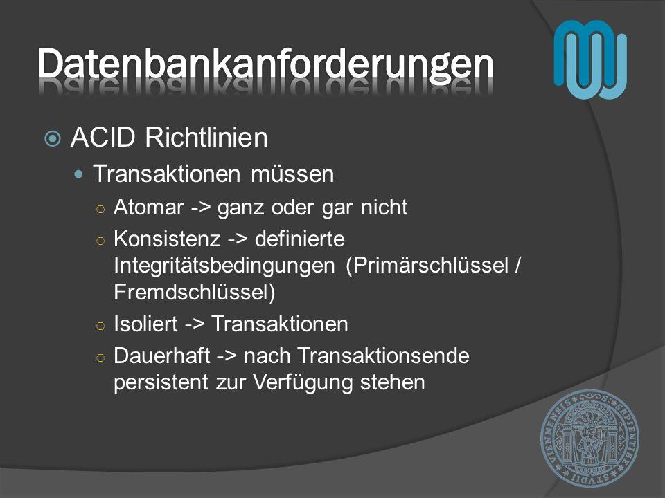 ACID Richtlinien Transaktionen müssen Atomar -> ganz oder gar nicht Konsistenz -> definierte Integritätsbedingungen (Primärschlüssel / Fremdschlüssel) Isoliert -> Transaktionen Dauerhaft -> nach Transaktionsende persistent zur Verfügung stehen