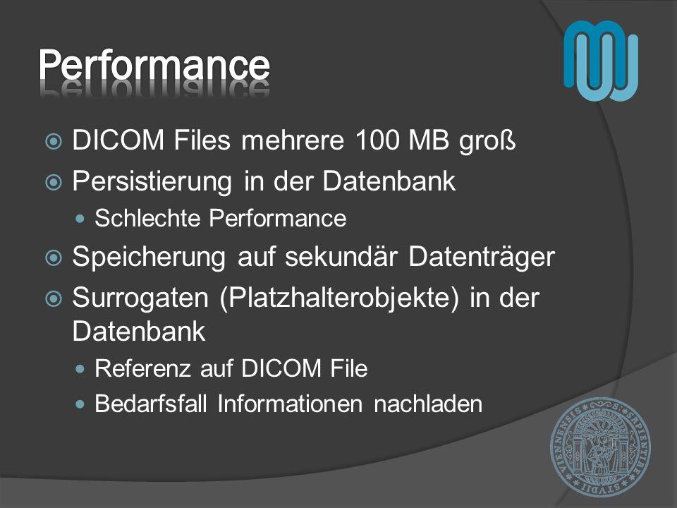DICOM Files mehrere 100 MB groß Persistierung in der Datenbank Schlechte Performance Speicherung auf sekundär Datenträger Surrogaten (Platzhalterobjekte) in der Datenbank Referenz auf DICOM File Bedarfsfall Informationen nachladen