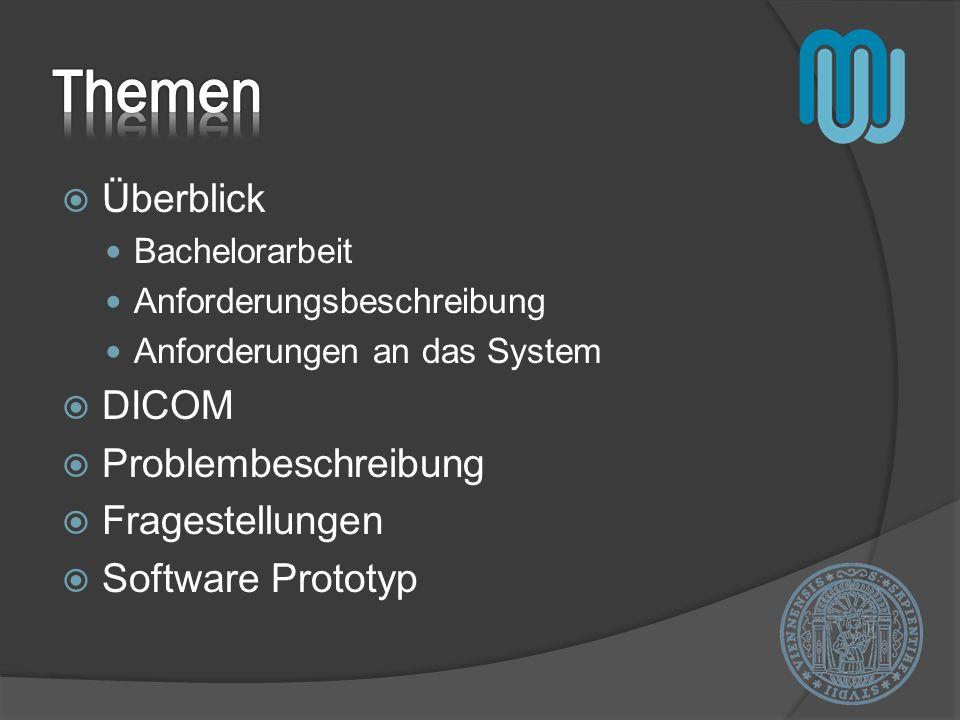 Überblick Bachelorarbeit Anforderungsbeschreibung Anforderungen an das System DICOM Problembeschreibung Fragestellungen Software Prototyp