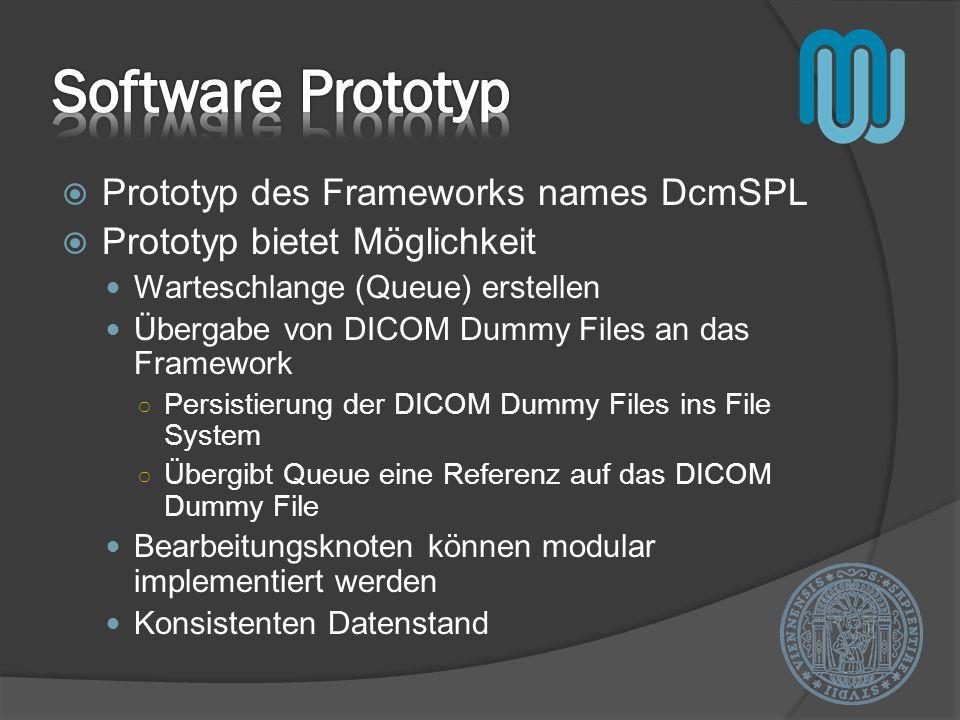 Prototyp des Frameworks names DcmSPL Prototyp bietet Möglichkeit Warteschlange (Queue) erstellen Übergabe von DICOM Dummy Files an das Framework Persistierung der DICOM Dummy Files ins File System Übergibt Queue eine Referenz auf das DICOM Dummy File Bearbeitungsknoten können modular implementiert werden Konsistenten Datenstand