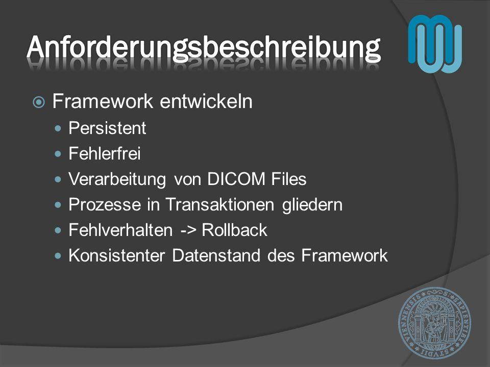 Framework entwickeln Persistent Fehlerfrei Verarbeitung von DICOM Files Prozesse in Transaktionen gliedern Fehlverhalten -> Rollback Konsistenter Datenstand des Framework