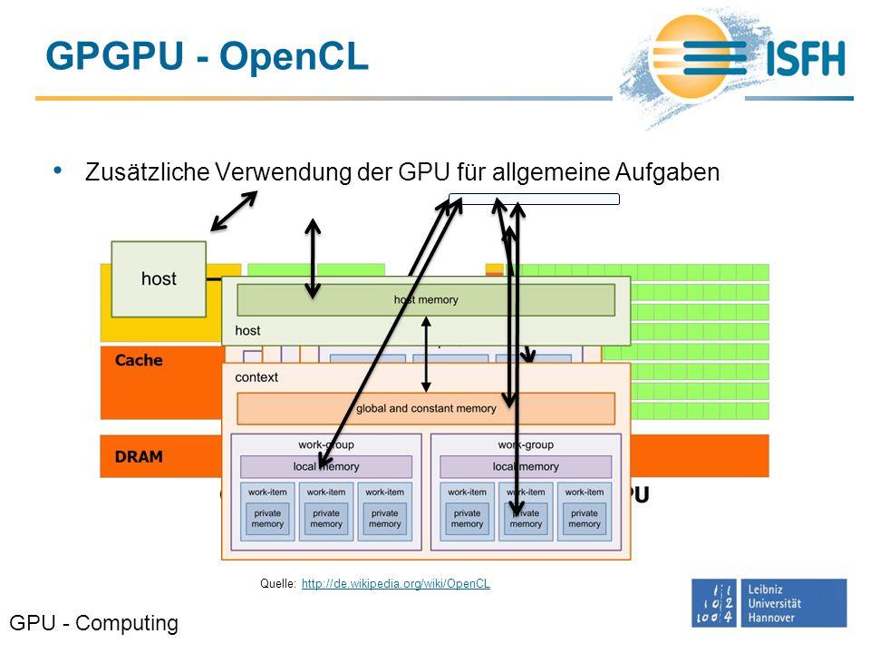 GPGPU - OpenCL Zusätzliche Verwendung der GPU für allgemeine Aufgaben GPU - Computing Quelle: CUDA C Programming Guide Quelle: http://de.wikipedia.org
