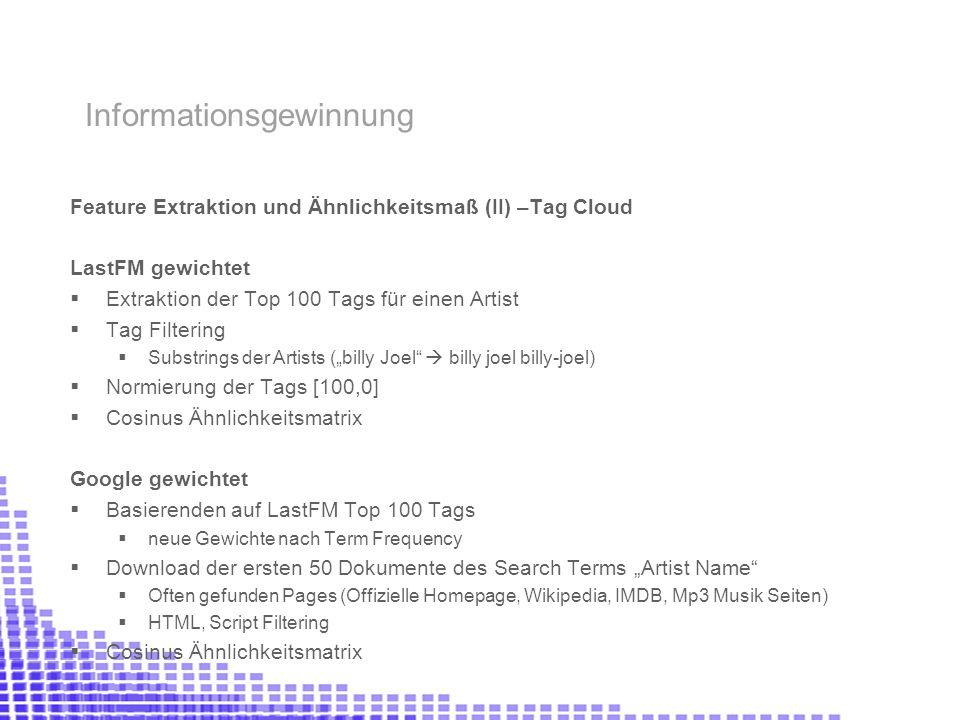 Feature Extraktion und Ähnlichkeitsmaß (II) –Tag Cloud LastFM gewichtet Extraktion der Top 100 Tags für einen Artist Tag Filtering Substrings der Arti