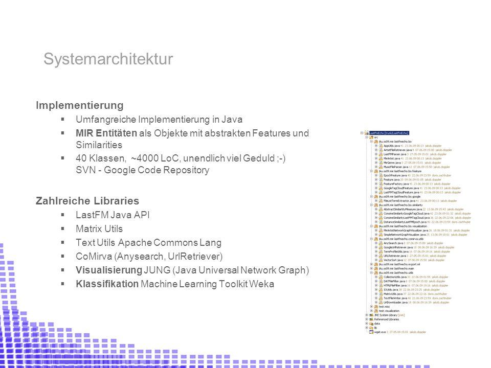 Implementierung Umfangreiche Implementierung in Java MIR Entitäten als Objekte mit abstrakten Features und Similarities 40 Klassen, ~4000 LoC, unendlich viel Geduld ;-) SVN - Google Code Repository Zahlreiche Libraries LastFM Java API Matrix Utils Text Utils Apache Commons Lang CoMirva (Anysearch, UrlRetriever) Visualisierung JUNG (Java Universal Network Graph) Klassifikation Machine Learning Toolkit Weka Systemarchitektur