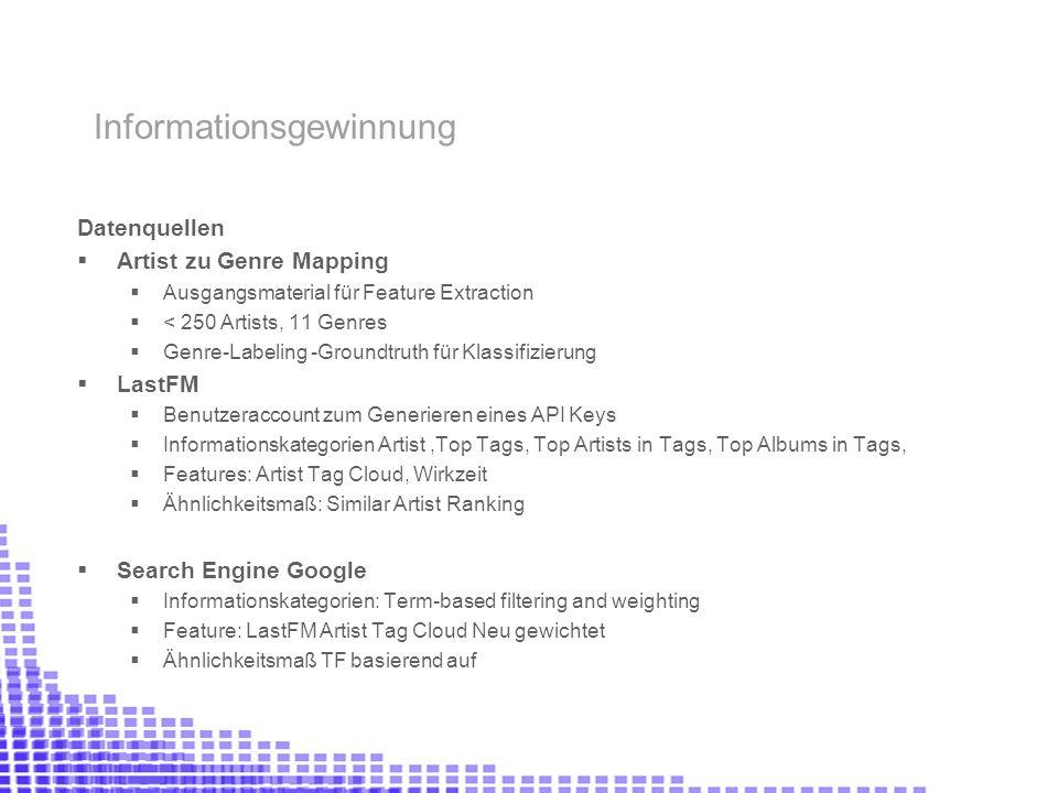 Datenquellen Artist zu Genre Mapping Ausgangsmaterial für Feature Extraction < 250 Artists, 11 Genres Genre-Labeling -Groundtruth für Klassifizierung