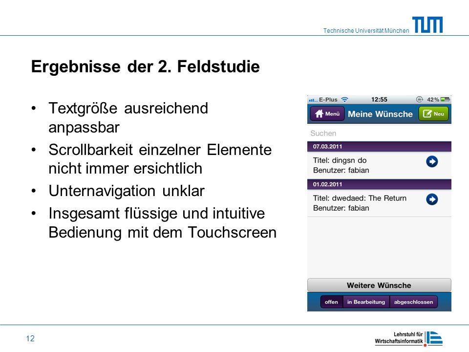 Technische Universität München 12 Ergebnisse der 2. Feldstudie Textgröße ausreichend anpassbar Scrollbarkeit einzelner Elemente nicht immer ersichtlic
