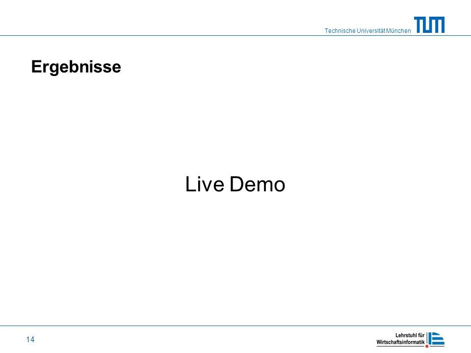 Technische Universität München 14 Ergebnisse Live Demo