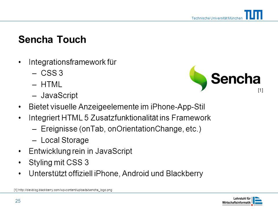 Technische Universität München 25 Sencha Touch Integrationsframework für –CSS 3 –HTML –JavaScript Bietet visuelle Anzeigeelemente im iPhone-App-Stil I