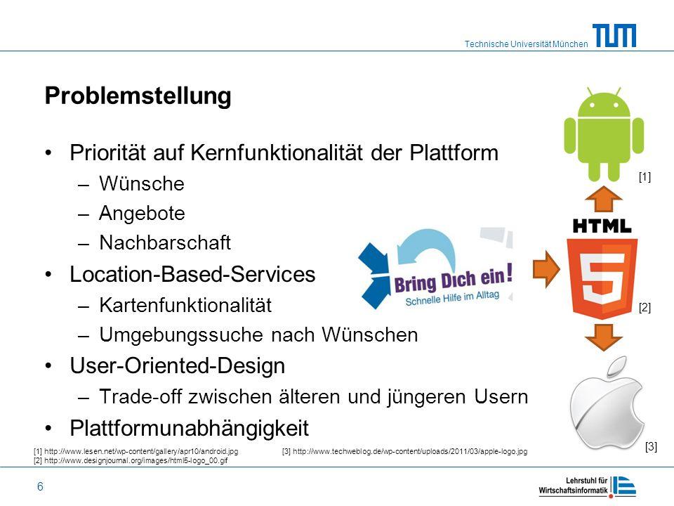 Technische Universität München 6 Problemstellung Priorität auf Kernfunktionalität der Plattform –Wünsche –Angebote –Nachbarschaft Location-Based-Servi