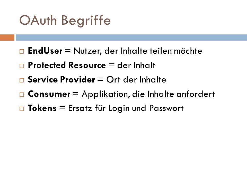 OAuth Begriffe EndUser = Nutzer, der Inhalte teilen möchte Protected Resource = der Inhalt Service Provider = Ort der Inhalte Consumer = Applikation, die Inhalte anfordert Tokens = Ersatz für Login und Passwort