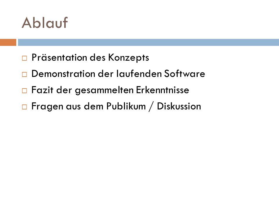 Ablauf Präsentation des Konzepts Demonstration der laufenden Software Fazit der gesammelten Erkenntnisse Fragen aus dem Publikum / Diskussion