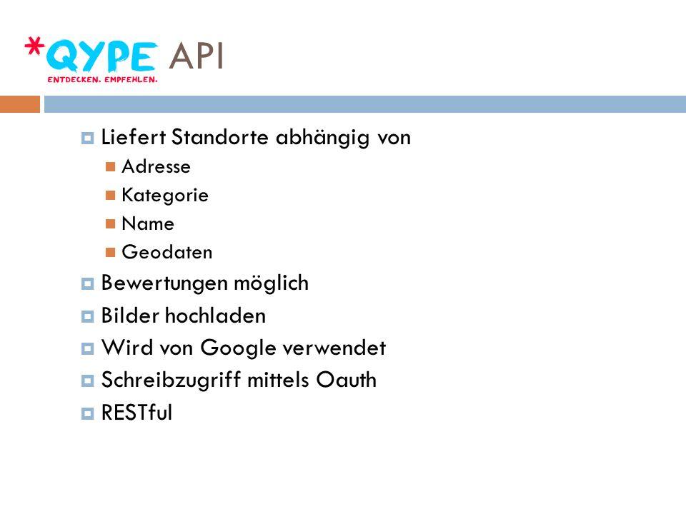 API Liefert Standorte abhängig von Adresse Kategorie Name Geodaten Bewertungen möglich Bilder hochladen Wird von Google verwendet Schreibzugriff mittels Oauth RESTful