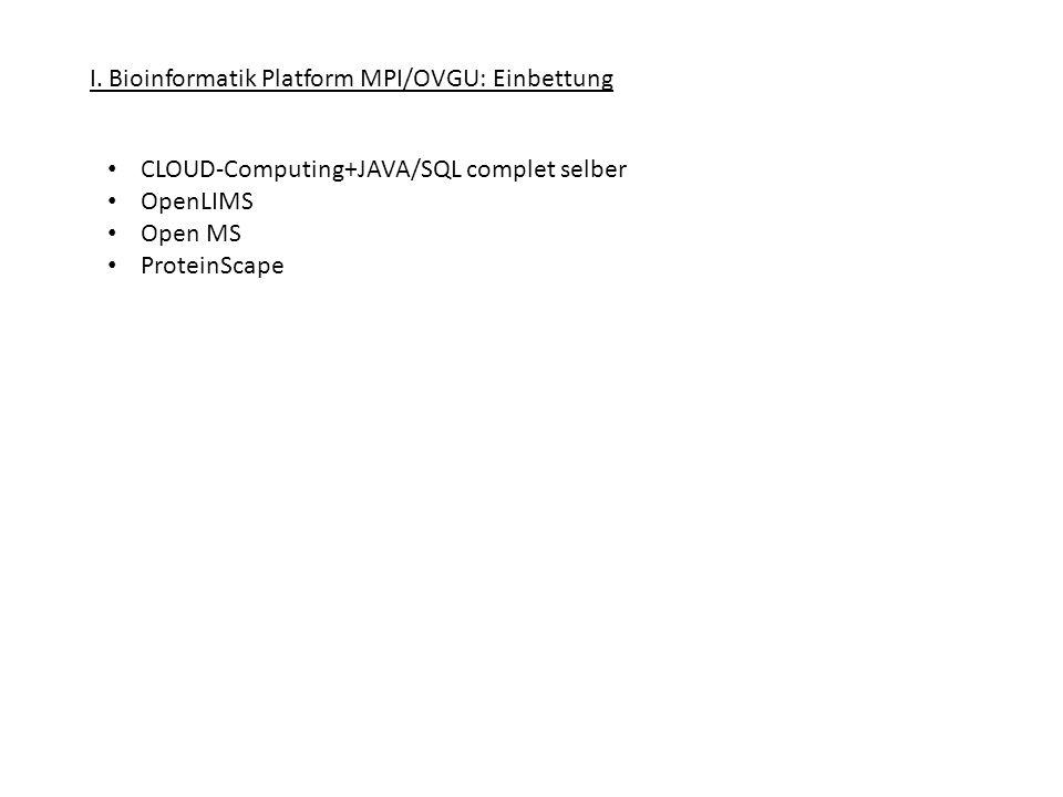 I. Bioinformatik Platform MPI/OVGU: Einbettung CLOUD-Computing+JAVA/SQL complet selber OpenLIMS Open MS ProteinScape