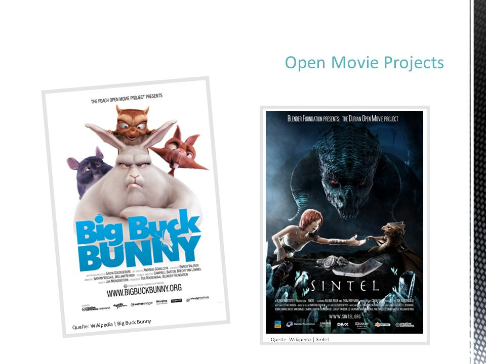 Open Movie Projects Quelle: Wikipedia | Big Buck Bunny Quelle: Wikipedia | Sintel